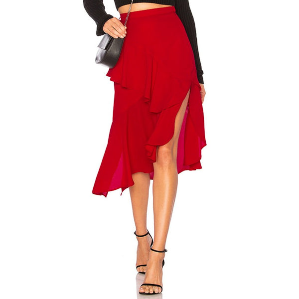 Addy Chiffon Ruffles Asymmetrical Split Skirt, Red
