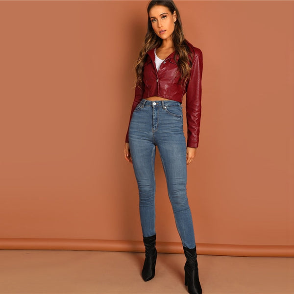 Lisa Vegan Crop Leather Jacket, Burgandy