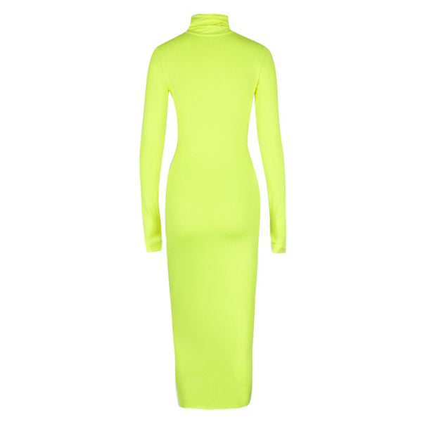 Mood Turtleneck Long Sleeve Bodycon Dress, Neon