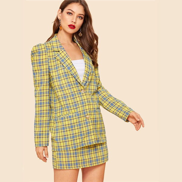 Tai Puff Sleeve Two Piece Set, Plaid