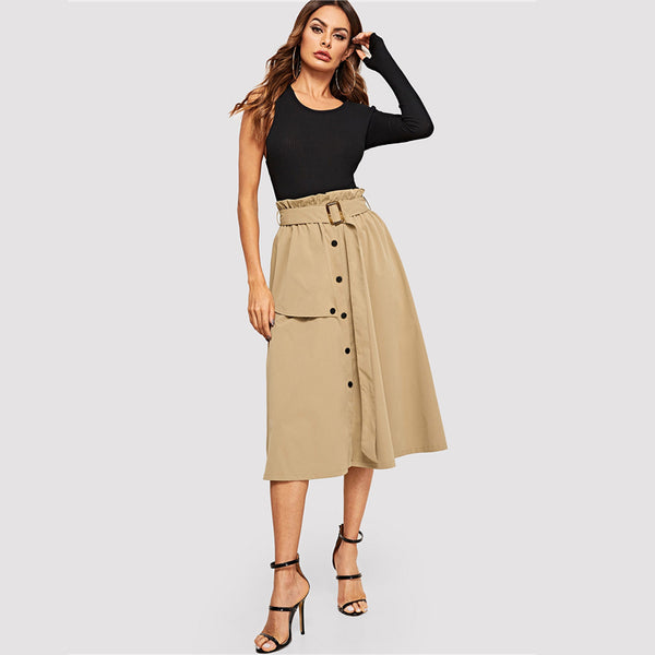 Shelly Paperbag Midi Skirt, Camel