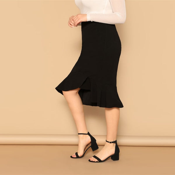 Mindy, Curva, Asymmetrical Ruffle Midi Skirt, Black