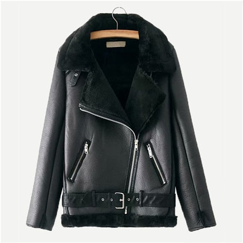 Village Vegan Leather Boyfriend Biker Jacket, Black