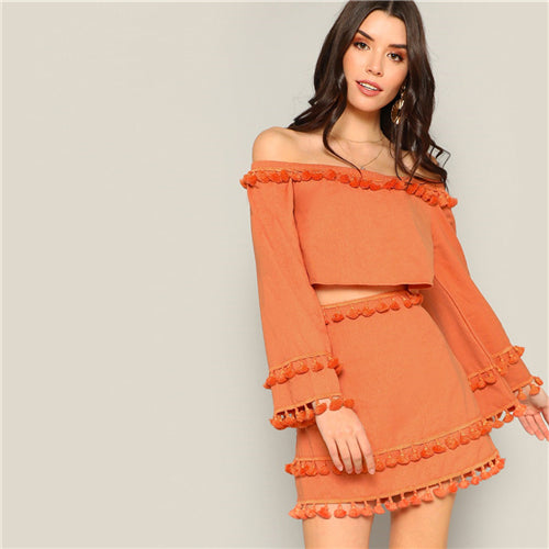 Bey Off-the-Shoulder Tassel Two Piece Set, Orange