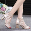 Patterned Mesh Open Toe High Heels(1 Pair)