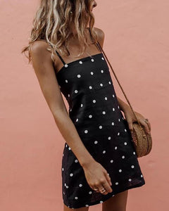 V-Neck Sling Polka Dot Print Dress