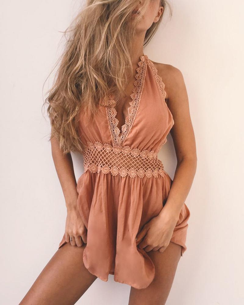 Sexy Halter Lace Stitching Jumpsuit