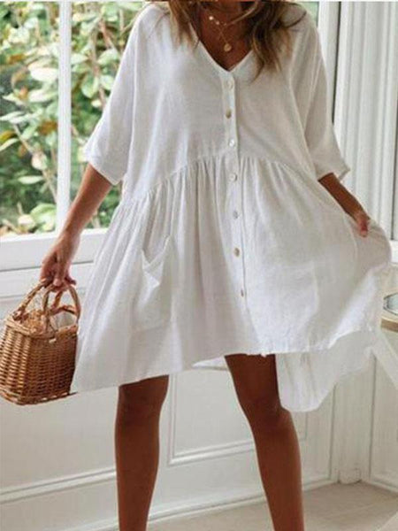 V Neck Half Sleeve Plain Pocket Loose Casual Dresses