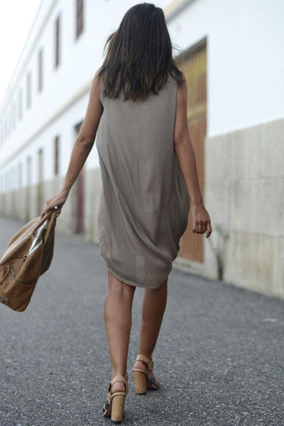 Arealook V Neck  Asymmetric Hem  Plain  Sleeveless Casual Dresses