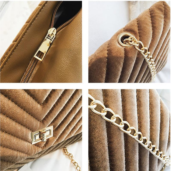 Fashion Casual Suede Rectangle Chain One Shoulder Bag