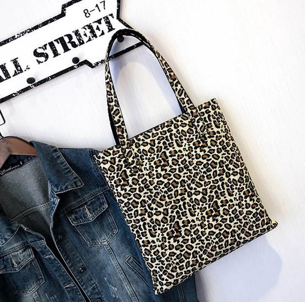 Leopard Print Simple Shopping Bag With One Shoulder Bag