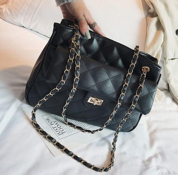 Vintage Strap Chain Bag Handbag Lock Catch   Single Shoulder Bag