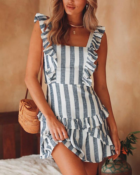 Strap Fungus Striped Girl Dress