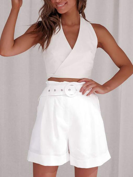 Casual Sleeveless Bare Back Pure Colour Suit