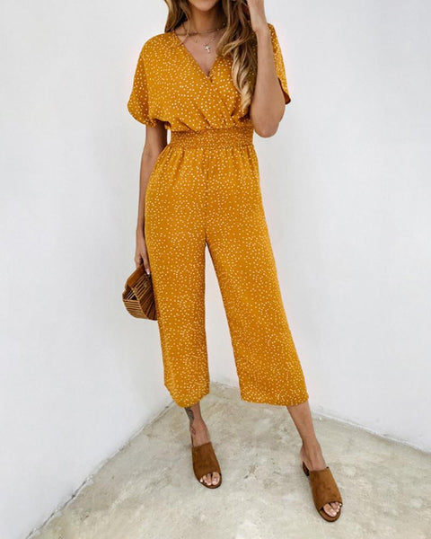 Casual V Neck Dot Short Sleeve Jumpsuits