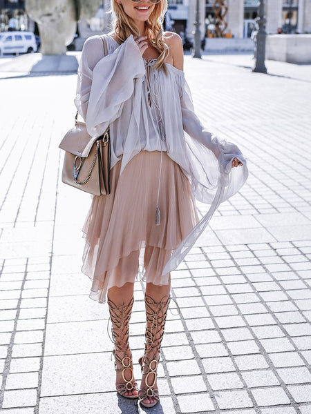 Commuting Off The Shoulder Splicing Lace Shirt