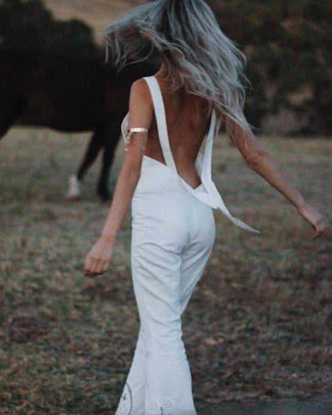 Sexy Open Shoulders Embroidered Sling Horn Jumpsuit