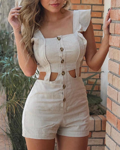 Casual Hollow Out Flounce Pure Color Jumpsuits