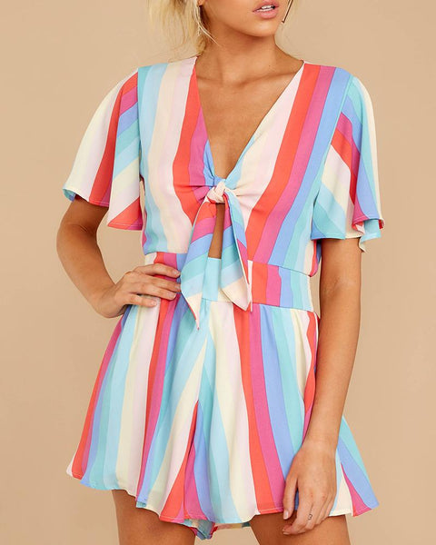 Sexy V Neck Short Sleeve Stripe Romper