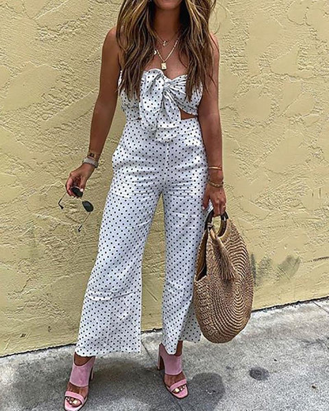 Sexy Sleeveless Polka Dot Off-Shoulder Suit