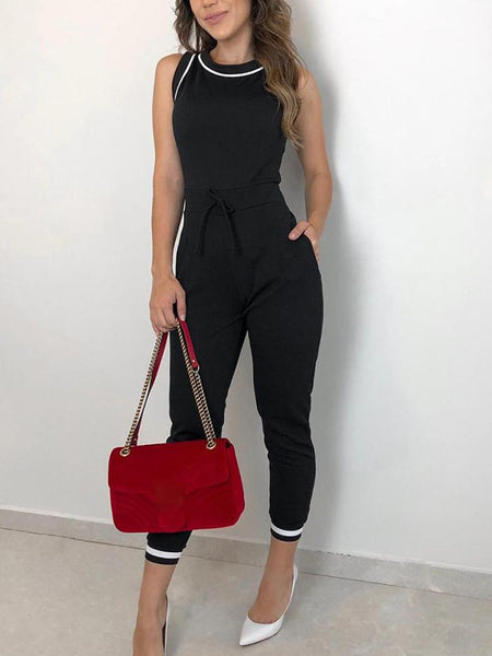 Sexy Round Neck Sleeveless Pure Colour Jumpsuit