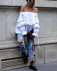 Fashion Off The Shoulder Ruffled Contrast Color Blouse