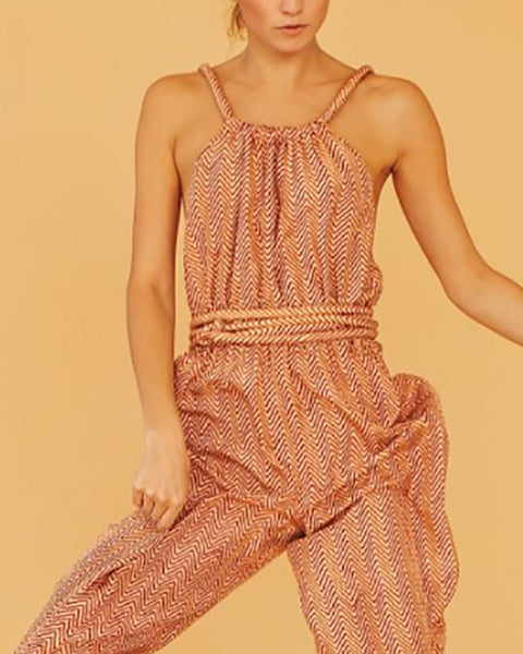 Classy Check Sleeveless Halter Jumpsuits