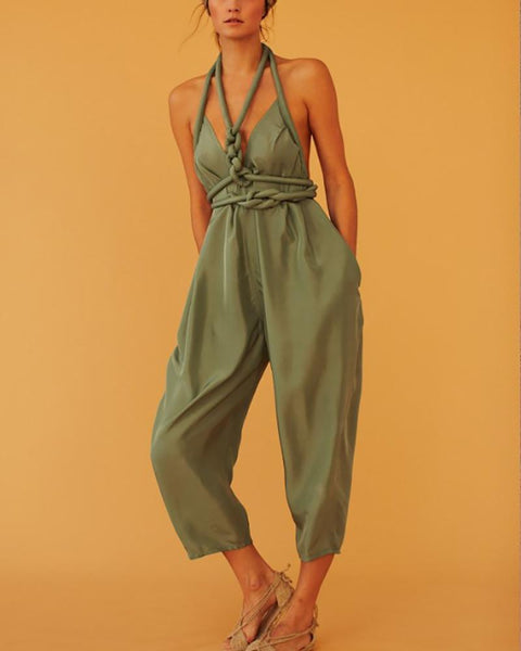 Casual V Neck Bare Back Sleeveless Pure Colour Jumpsuit