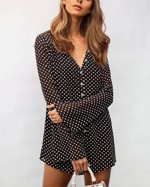 Casual Long Sleeve V-Neck Polka Dot Romper