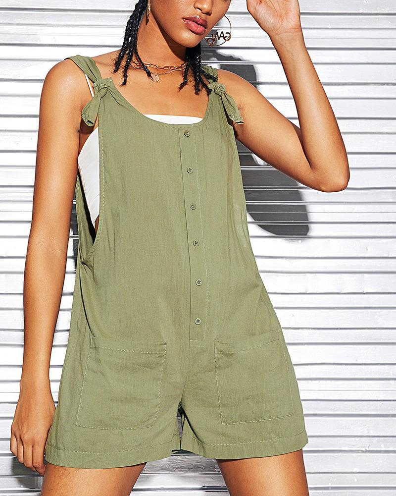 Casual Sleeveless Plain Short Jumpsuits