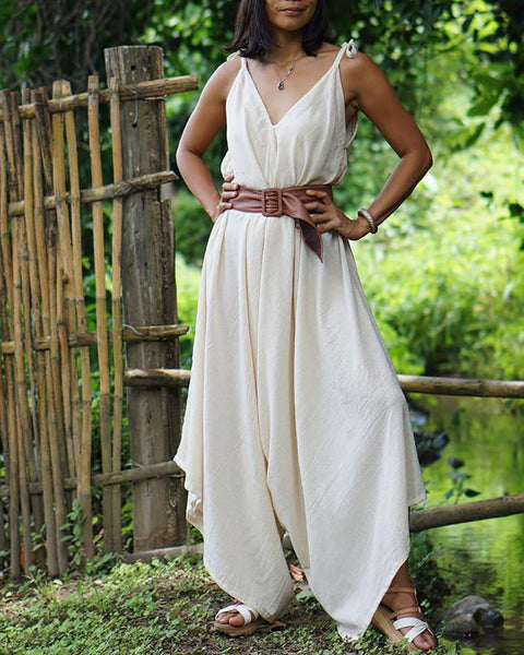 Bohemian V Neck Sleeveless Pure Colour Jumpsuit