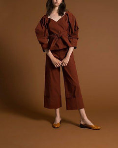 Pure-Color Lantern Sleeve Top And Wide-Leg Pants Fashion Suit