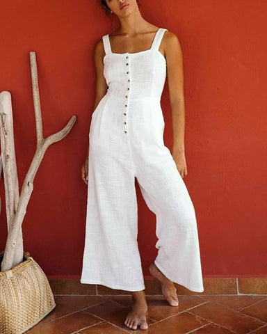 Pure Color Single Breasted Loose Wide Leg Jumpsuit