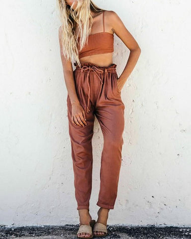 Pure Color Sling Top And Elastic Waist Loose Pants Suit