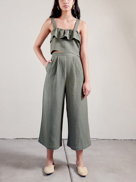 Pure Color Sling Top And Loose Wide Leg Pants Fashion Suit