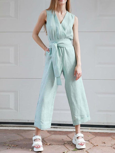 Pure Color V-Collar Sleeveless Wide Leg Jumpsuit