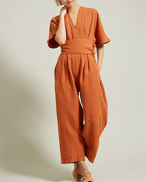Casual V Neck Halflong Sleeve Pure Colour Jumpsuit