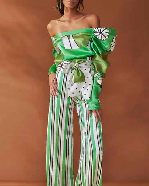 Sexy Open Shoulder Long Sleeved Top And Wide Leg Pants Fashion Suit