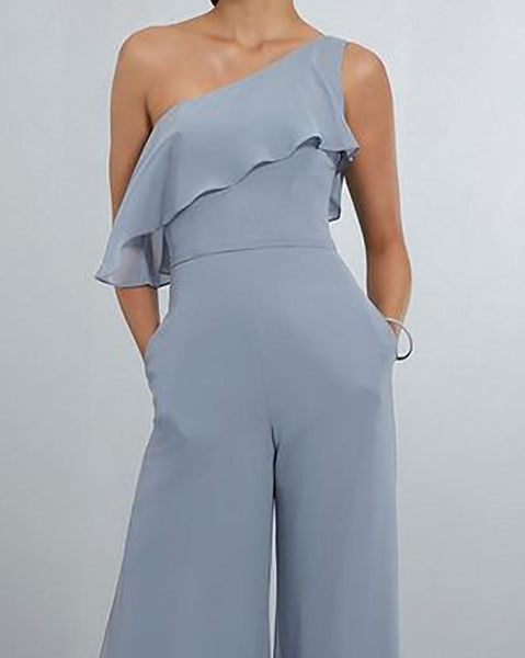 Fashion One Shoulder Ruffled Jumpsuits