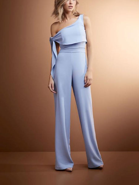 Pure Color Open Shoulder Wide Leg Jumpsuit