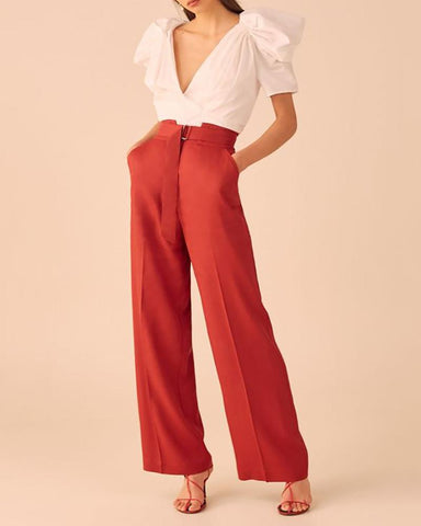 Pure Color Deep V Short-Sleeved Top And Wide Leg Pants Fashion Suit