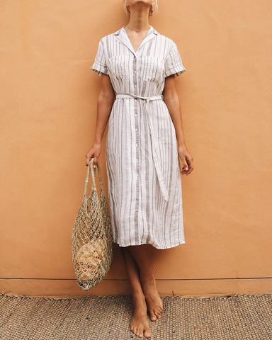 Elegant Short Sleeve Striped Lace-Up Dress