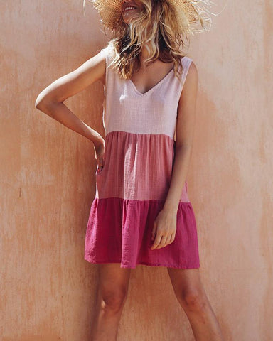Casual V Neck Contrast Color Ruched Dress