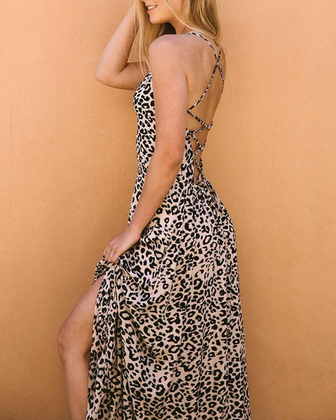 Casual V Neck Sleeveless Leopard Print Dress