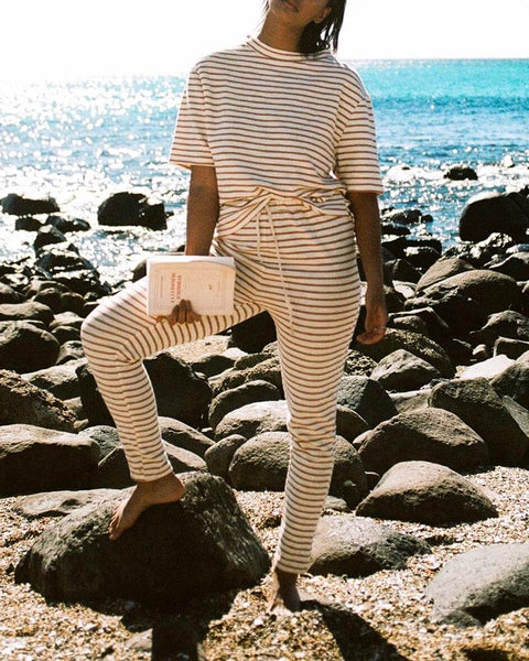 Round Collar Short Sleeved Striped Top And Elastic Waist Pants Suit