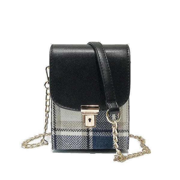 Fashion Shoulder Bag With Matching Plaid And   Crossbody Bag