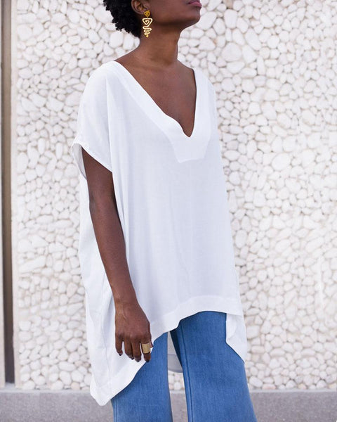 V-Neck Irregular Hem T-Shirt
