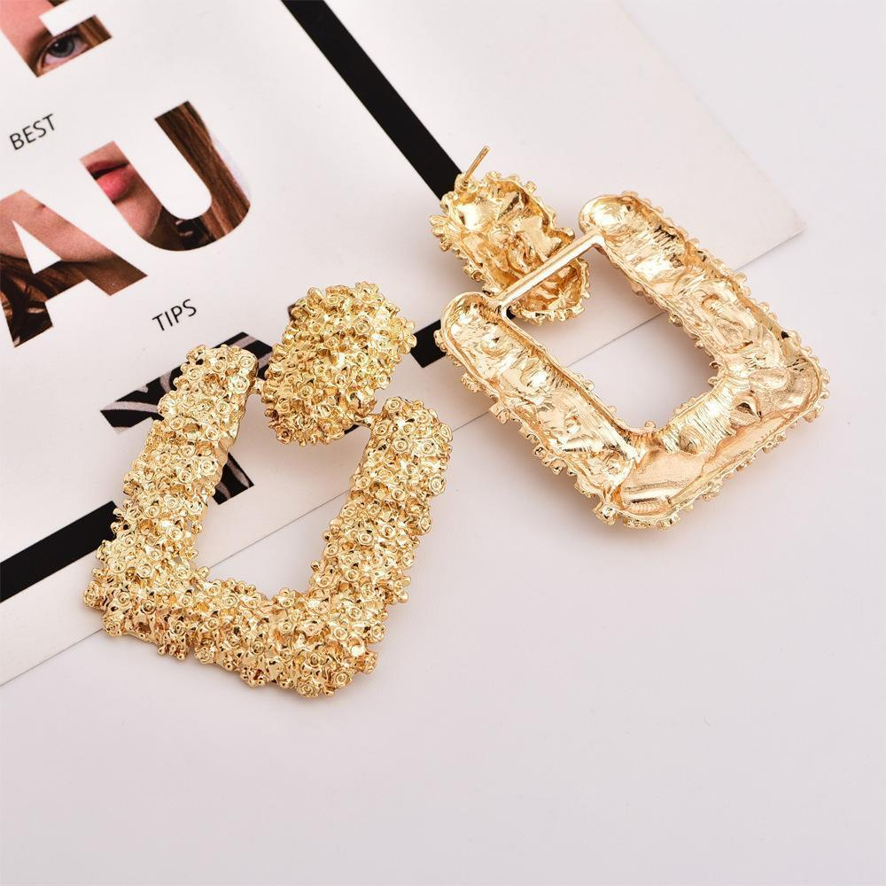Fashion Trend New Rose Geometric Shape Exaggerated Metal Female Earrings