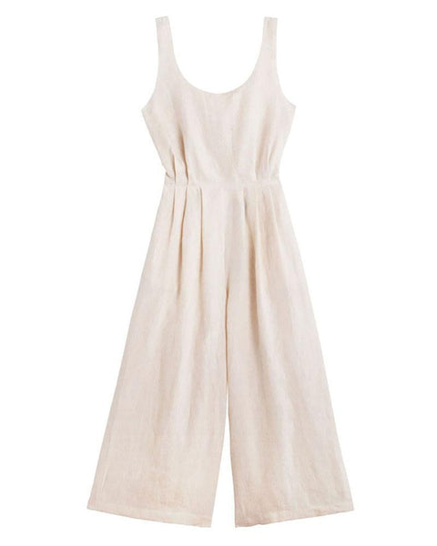 Open Back V-Neck Linen Casual Sexy Jumpsuit