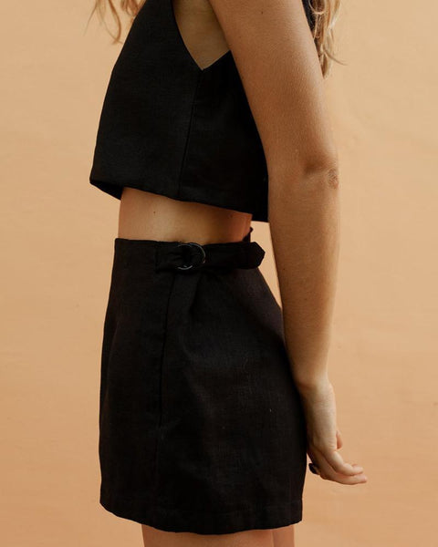 Square Collar Vest Navel Shorts Suit